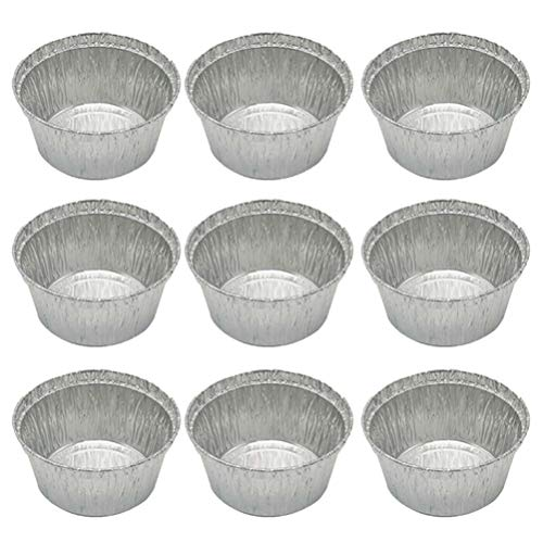 50 Pcs 120ML Tin Foil Bowls Aluminum Foil Round Disposable BBQ Tray Pie Pans for Homemade Cakes Pies -8x3.7cm (Without Lid)