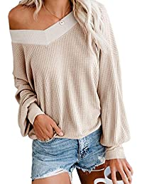 Women's V Neck Long Sleeve Waffle Knit Top Off Shoulder Oversized Pullover Sweater