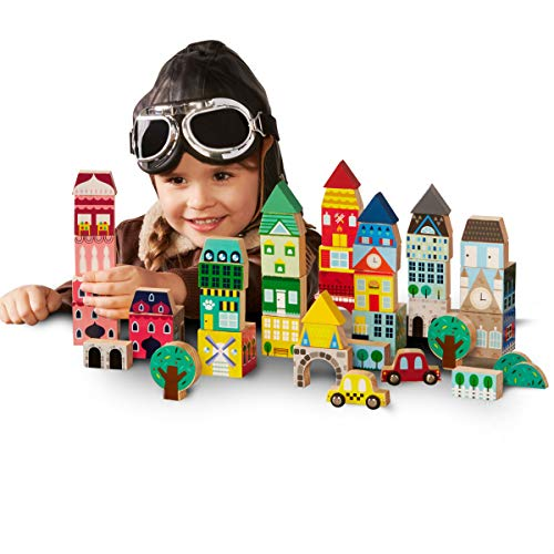 FAO SCHWARZ 50 Piece Wooden Block International Building Toy Set, Printed Architecture Themed Design W/ Cityscapes, Trees, & Cars, Durable Solid Natural Construction, Helps Develop Fine Motor - Blocks Wooden Castle Building