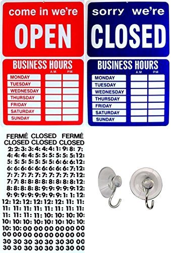 1 Set Grand Unique Open Closed Sign Window Adhesive Retail Store Message Plastic Vinyl Letters House Lawn Pole Holder Door Hanger Home Hour Signs Hr Hanging Business Hours Decals Size 9