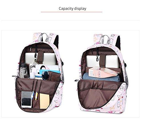 Mochila Motif Sky Adolescentes Voyage Winnerbag à Sacs Portable Fashion pouces 14 Impression Pink imperméable Femmes Mignon Blue Tissu dos Expression xq46Bwv
