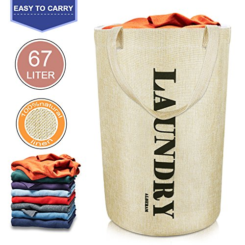 Alberam Laundry Hamper Laundry Basket Natural Linen 21.6  Inch Large Size Storage Bag With Handle
