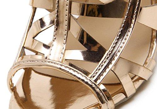 Sandalias Finos Champagne Para Con Salvajes Zapatos Champagnegold Linyi De Mujer Heels Verano Stiletto Huecos Aguja Oro Tacón azqgO7vzZ