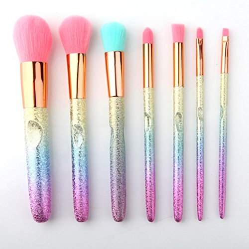 QAZSE Cepillo De Maquillaje Colorido Patrón 3D Cepillo De Maquillaje Colorido Degradado Pelo Azul 7 Conjunto De Pinceles