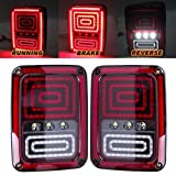 Ohmotor Jeep LED Tail Lights Smoked Red LED Taillights for Jeep Wrangler Tail Brake Light Reserve Light Real Back up Turn Signal Lamp for Jeep Wrangler JK JKU Sports, Sahara, Freedom Rubicon 2007-2017