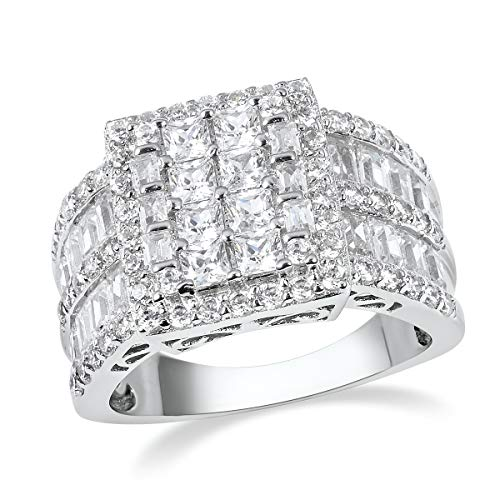 (Cluster Ring 925 Sterling Silver Rhodium Plated Square White Cubic Zirconia CZ Jewelry for Women Size 7 Ct)