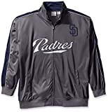 Profile Big & Tall MLB San Diego Padres Men's Team Reflective Tricot Track Jacket, 3X, Charcoal/Navy