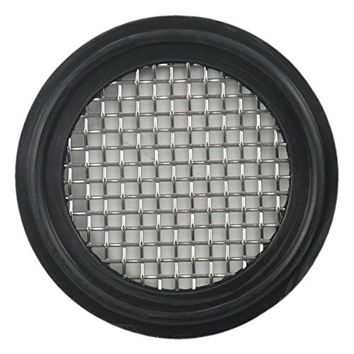 2.5 w// 10 Mesh 316L Stainless Steel FKM Sanitary Tri-Clamp Screen Gasket Black