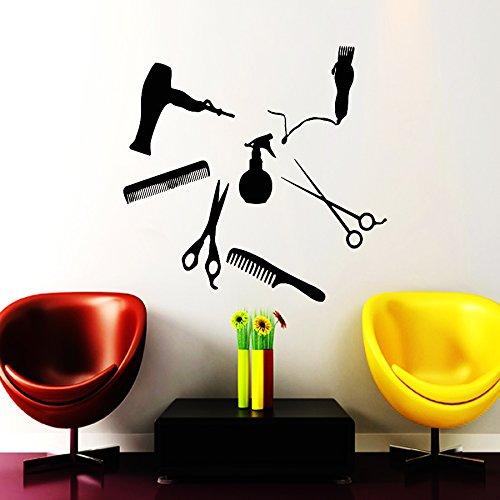 Wall Decals Hairdressing Hair Beauty Salon Decal Vinyl Sticker Haircut Scissor Combs Home Decor Window Decals Living Room Art Murals Chu572
