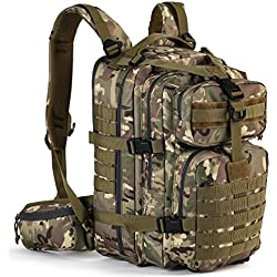 Gelindo Military Tactical Backpack, Hydration Backpack, Army Molle Bug-out Bag, Small Rucksack for Hunting, Survival, Camping, Trekking, School, 35L (CP-Tan)