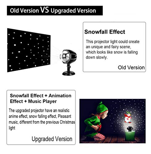 UPODA Christmas LED Snowfall Halloween Waterproof with Remote Control Timer and Music Player Anime Snow Light Projector for Outdoor Wedding Xmas Holiday Party Decorations by UPODA (Image #4)