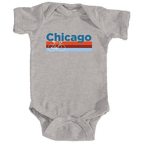 Bike Suit Street (Chicago Retro Bike & Mountain Bike - Illinois Infant Onesie/Bodysuit (NB, Heather Grey))