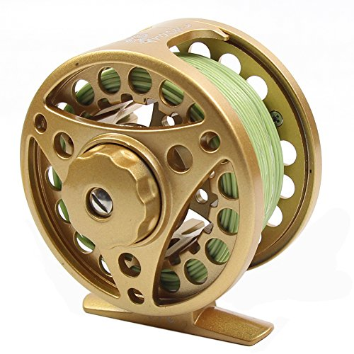 (Croch Fly Fishing Reel with CNC-machined Aluminum Alloy Body 5/6 God with 100FT Fly Fishing Lines Backing and Tapered Leader)