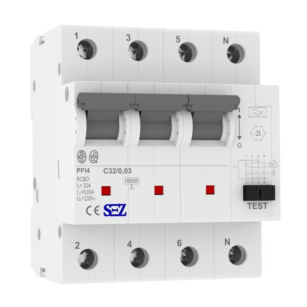 SEZ RCBO FI/LS C32A 30mA 10kA 4p TYP.A Leitungsschutzschalter Fi-Schalter KOMBI 1503 SEZ Krompachy