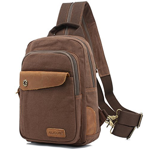 BagAugur Men Sling Canvas Multipurpose Body For Women BackpackCasual Cross Daypack coffee Chest Shoulder WHDE29IY
