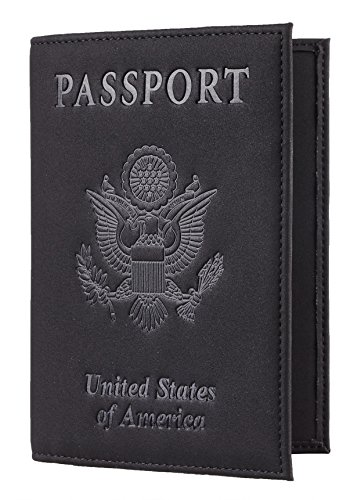 Travelambo RFID Blocking Genuine Leather Passport Holder Wallet Cover(suede black)