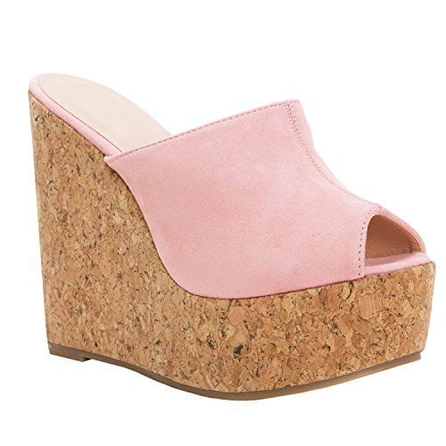 LAICIGO Womens Wedge Platform Slide on Sandals Open Toe Cork Faux Suede Dress Summer Slippers Shoes