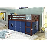 DONCO KIDS Circle Cappuccino Low Loft with Blue Tent , Twin