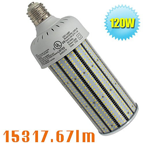 Caree-LED 400 Watt High Pressure Sodium Replacement 120W LED Corn Bulb Mogul E39 Base Retrofit Flood Fixture,Commercial Security Light 6000K Daylight Parking Lot Street Lights