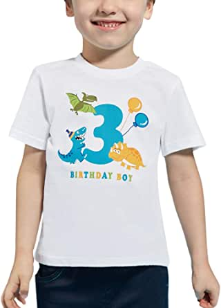 AMZTM 3ro Dinosaurio Camiseta Cumpleaños Bebé Niño Cumpleaño Manga Corta Tops