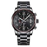 KASHIDUN Men's Watches Luxury Sports Casual Quartz Wristwatches Waterproof Chronograph Calendar Date Stainless Steel Band Black Color (B Red Black)