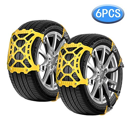 Vodche Car Snow Chains, 6Pcs Emergency Anti Slip Tire Traction Chains Upgraded TPU Snow Chain for Light Truck/SUV/ATV Winter Universal Tire Security Chains (Tire Width 165-285mm/6.5-11.2
