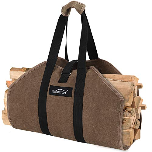 Manfiter Firewood Carrier Tote Bag, Waxed Canvas Log Carrier Large Sturdy Durable Fireplace Stove Accessories Firewood Bag with Padded Handles, Wood Carrier for Outdoor Camping and Indoor Fire Pit