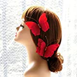 Beautiful Wedding Bridal Handmade Bride Butterfly Hair Clips Headpiece Pretty Flower Accessories Head Pieces Prom Headdress Headwear (Red)