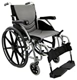 Karman Healthcare Ergonomic Wheelchair S-115 Mag Wheels, Pearl Silver, 20 Inch x 17 Inch , 27 Pound
