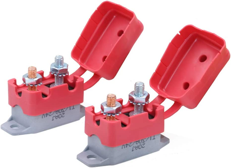 Gloaso 30 Amp Circuit Breaker Automatic Reset DC 12V 24V Type 1 Automotive Replacement 30A Breakers w//Cover 2pcs // pack