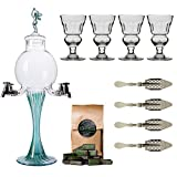 "Absinthe Accessory Set ""Green Fairy"" with 1x Absinthe Fountain / 4x Absinthe Glasses / 4x Absinthe Spoons / 1x Absinthe Sugar Cubes - Drink Absinthe the traditional way!"