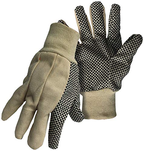 12 Pack Boss 5501 'The Original Plastic Dot' 100% Cotton Gloves with Knit Wrist - Large