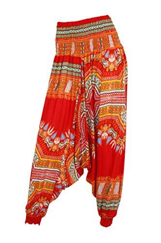 Pantalones de harén, entrepierna holgada en caída, diseños dashiki African 2 Red