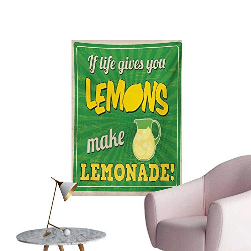 Anzhutwelve Quote Photo Wall Paper Vintage Pop Art Advertising Design If Life Gives You Lemon Make LemonadeGreen Yellow and Tan W20 xL28 Poster Paper