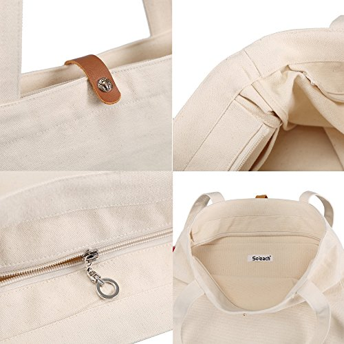 So'each Bolsa de tela y de playa, color natural (beige) - SPA-ODD-UK-36