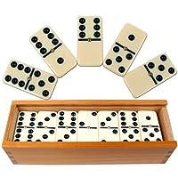 Juego de dominós: juego de azulejos Domino, de dos piezas, 28 piezas de marfil doble, juego de mesa con números clásicos y estuche de madera de almacenamiento de Hey! ¡Jugar! (2-4 jugadores)