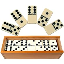 Trademark Games Premium Set of 28 Double Six Dominoes with Wood Case Brown