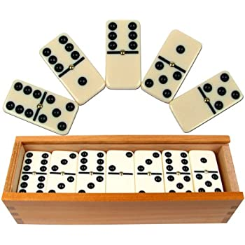 Dominoes Set- 28 Piece Double-Six Ivory Domino Tiles Set, Classic Numbers  Table