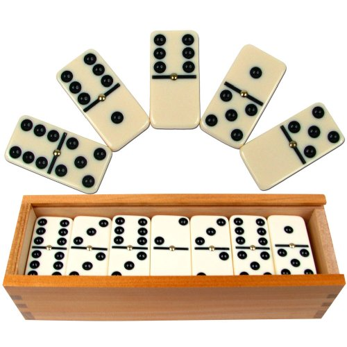 Dominoes Set- 28 Piece Double-Six Ivory Domino Tiles Set, Classic Numbers Table Game with Wooden Carrying/Storage Case by Hey! Play! (2-4 - Dominoes Wooden Game Set