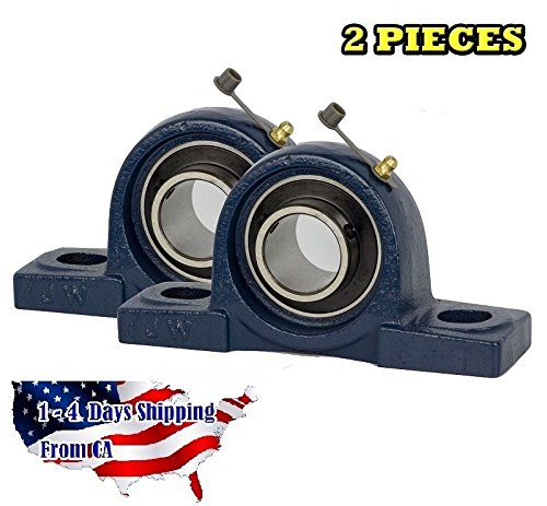 - 2 Piece 1-3/4 inch Pillow Block Bearing UCP209-28, Solid Base,Self-Alignment, Brand New by Jeremywell