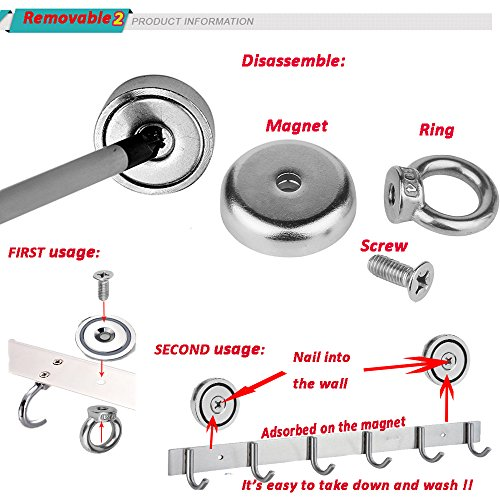 MAGNETIC ORGANIZER Super-Strong-Small POWERFUL Heavy Duty Neodymium EYEBOLT MAGNET-Great For organizing Indoor/Outdoor,Kitchen,Workshop,Home And Will Not Scratch / Silver / 2 Pieces (D36mm(50LB)) by EHOLIFE (Image #3)