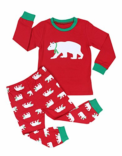 Girls Boys Pajamas Long Sleeve Polar Bear Print Top