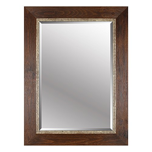 Mirrorize.ca Beveled Hanging Wall Decorative Mirror with Brown Embossed Frame, 34-Inch by 46-Inch