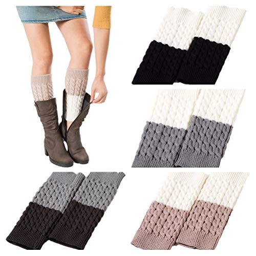 JTAISC Women Short Boots Crochet Knitted Boot Cuffs Plus Velvet Leg Warmers Socks (4 Pairs-StyleB)