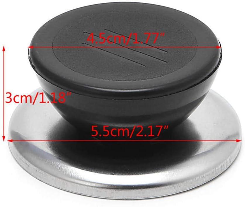 Heat Resistant MOTZU 6 Pieces Cookware Universal Replacement Lid Knob Black with Silver Lining Anti-Heat Plastic Knobs Pan Lid Holding Handles Kitchen Pot Lid Handle
