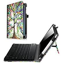 Fintie Samsung Galaxy Tab E 9.6 Keyboard Case - Slim Fit PU Leather Stand Cover with Premium Quality [All-ABS Hard Material] Removable Wireless Bluetooth Keyboard, Love Tree