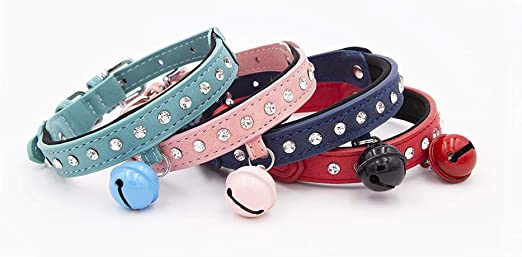 BluePaw- Stylish Cute Bling Full Rhinestone Crystal Pet Diamond Studded Leather Collar with Bell for Cat or Puppy