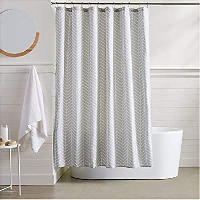 AmazonBasics Grey Herringbone Shower Curtain - 72 Inch - Stylish shower curtain with printed pattern Eye-catching print adds a distinctive look to your bathroom Built-in ring holes make installation easy (rings not included) - shower-curtains, bathroom-linens, bathroom - 51IYo9tOSWL. SS400  -