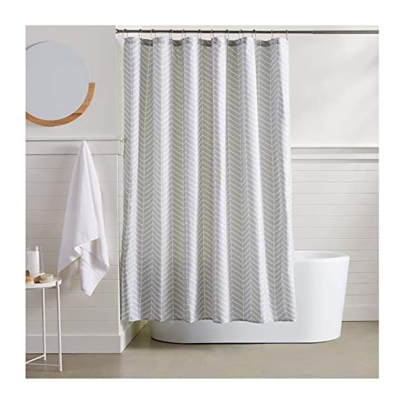 AmazonBasics Grey Herringbone Shower Curtain - 72 Inch - Stylish shower curtain with printed pattern Eye-catching print adds a distinctive look to your bathroom Built-in ring holes make installation easy (rings not included) - shower-curtains, bathroom-linens, bathroom - 51IYo9tOSWL. SS570  -