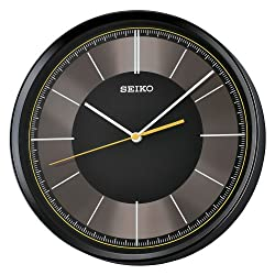 Seiko 12 Sleek Black & Grey Wall Clock